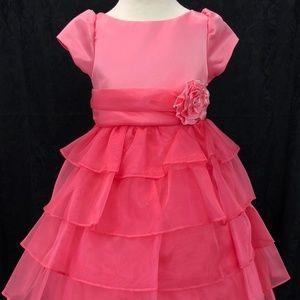 Kids Girls coral 3/4 sleeve cupcake dress